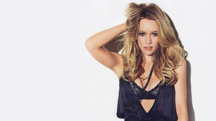 Hilary Duff In Black Dress Front Pose Photoshoot